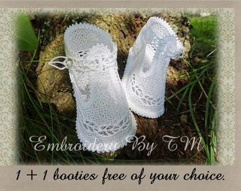 White booties with leaves-completely made of lace-original baby booties design from Embroidery By TM