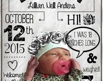 Custom Girl Birth Announcement Digital Download