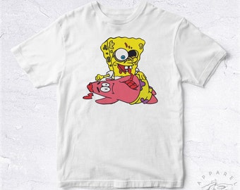 NEW Tee Shirt Sponge Bob Zombie BIO HANDMADE Patrick Bob L'Éponge Tv Simpsons Brain Eat Movie Cartoon Mix Fun Funny Joke Anime Dessin Animé