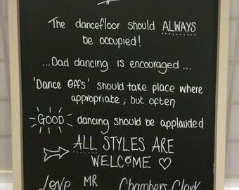 Personalised wedding chalkboard sign - custom rules of the dancefloor blackboard