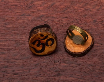 OM, wooden ring, up to 3cm, unique