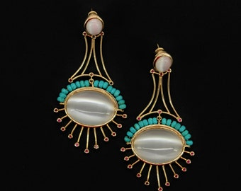 Cat Eyes and Turquoise on 18K Gold Plated Statement Earrings