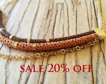 SALE 20% OFF, Tribal gold plated necklace