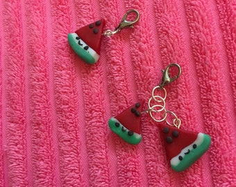 Watermelon polymer clay charm