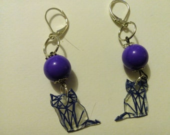 Fox graphic plastic earrings madman and plastic beads