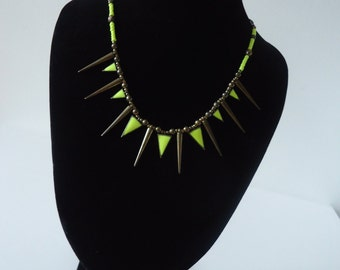 Summer necklace, yellow Fluo, neon yellow for summer