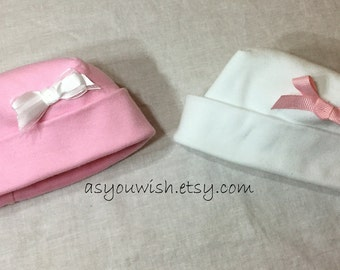 Set of two baby hats, newborn, preemie, micro preemie, reborn dolls