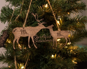 Our First Christmas Ornament, Personalized Wooden Ornaments, Two deer, Christmas Gifts for the Couple, Newlywed Gift, Just Married - Mr Mrs