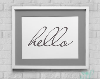 Hello Instant Download Wall Art 8x10/11x14