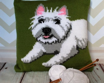 Knitting Pattern PDF Download - Westie/West Highland Terrier Pet Portrait Pillow Cushion Cover