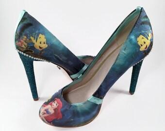 The Little Mermaid Custom Crystal and Pearl Stilettos, Disney Shoes