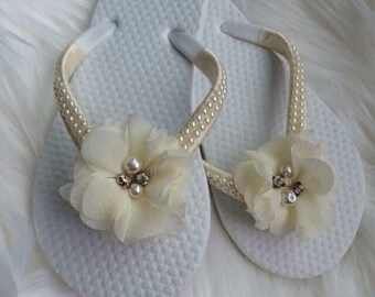Flower Girl flip-flops, satin and pearl flip-flops fancy flip-flops
