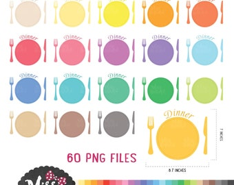 30 Colors Dinner / Meal Clipart - Instant Download
