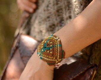 Handmade boho, tribal, bohemian Macrame bracelet