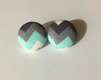 Chevron Fabric Button Earrings