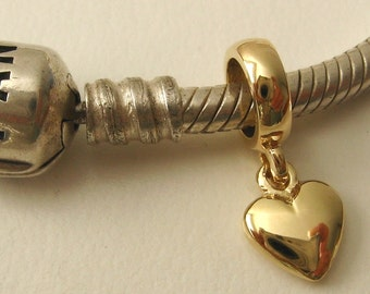 Genuine SOLID 9K 9ct YELLOW GOLD Charm Solid Heart Drop Bead