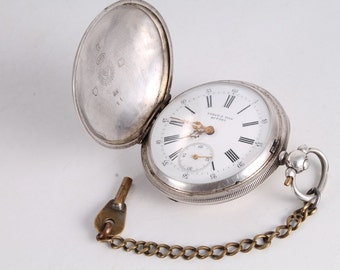 Antique Old Swiss Made Lebet & Fills Buttes Silver Pocket Watch.