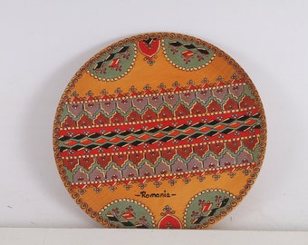 wooden hand-painted plate Romania