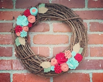 Felt Flower Grapevine Wreath: Red, Coral & Turquoise