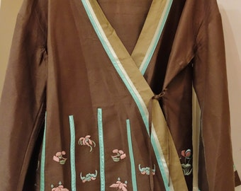 100% Silk Japanese Kimono Jacket with embroidery (outlet)