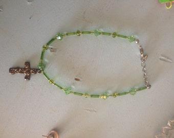 Green, Swarovski crystal, cross pendant bracelet