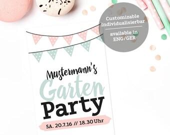 Garden Party Invitation / Printable / Garden / Party / Birthday Party / Invitation Party / Template / selfprint / Celebrate / Download