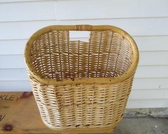 large wicker basket, vintage storage basket, magazine holder, strong basket, cottage decor