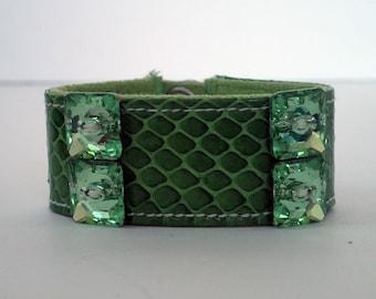 Snakeskin Bracelet with Crystals