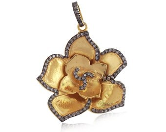 14K Yellow Gold Plated Pave Diamond Flower Silver Pendant, Diamond Flower Pendant