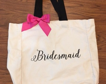 Bridesmaid Tote Bag with Bow