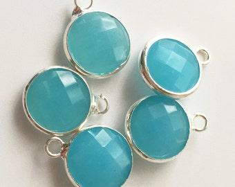 5pcs Blue Glass Bezel Pendant,10mm 12mm Brass Bezel Charm,Wholesale Jewelry Supplies