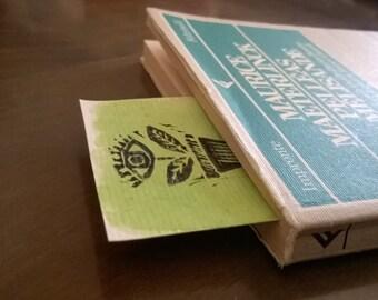 Handmade bookmarks | watercolors and linografia | linoprint | handmade