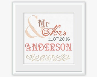 Wedding Cross Stitch - Mr & Mrs - Embroidery- Wedding Cross Stitch Pattern - Bridal Cross Stitch - Wedding Gift - PDF -INSTANT DOWNLOAD