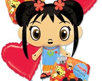 FAST SHIP Ni Hao Kai Lan Birthday Balloons, Kai Lan Party Supplies, Kai-Lan Birthday Decorations, Foil Mylar Balloons, Kai Lan Party