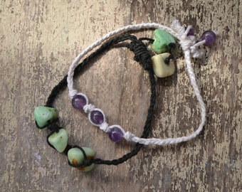 Braided gemstone stacking bracelets (available with multiple authentic natural crystal gemstone beads)