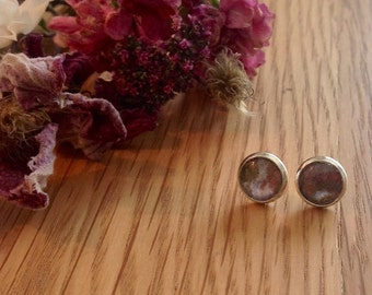 Rust and blue studs, glass dome earrings, silver studs, small studs, floral earrings, flower earrings, gift for her, birthday gift,