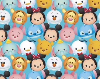 "Disney Fabric - Disney Tsum Tsum Fabric - Disney Tsum Mickey & Friends Packed 100% cotton 44"" wide fabric by the yard SC101"