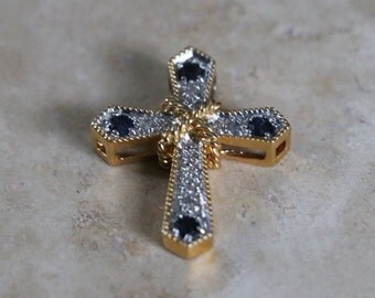 Vintage Goldtone Cross pendant  blue and clear crystals, something blue