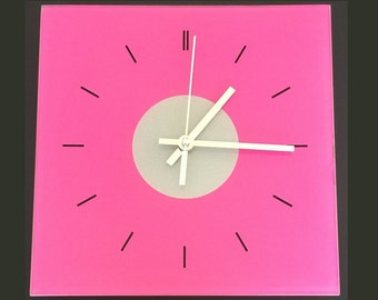 Pink Modern Square Glass Clock