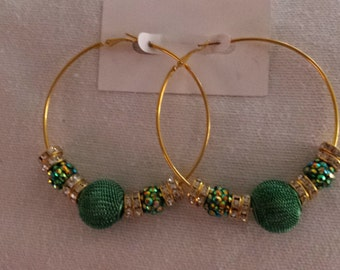 Basketball Wives Inspired Gold Plated Hoop Earrings / Green Mesh and Resin Beads with Rhinestone Spacers