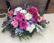 Cemetery Flowers, Memorial Flowers, Headstone Saddle, Garden Arrangement for Cemetery, Floral Tribute for Cemetery,Made in Canada