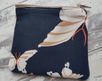 Navy Butterfly Money Pouch // Coin Pouch // Money Purse // Zipper Pouch // Zipper Coin Purse // Mini Pouch // Mini Purse // Coin Purse