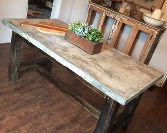 Conrete top harvest table repurposed wood