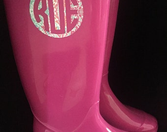 Solid Colored Monogram Rain Boot Decal