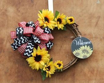 14 inch Sunflower grapevine wreath with chalkboard look welcome sign