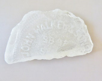 Large white sea frosted glass John Walker & Sons, sea glass, sea foam, beach glass, craft supplies, mosaic supplies, n111
