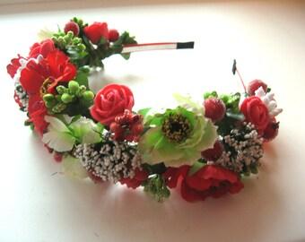 Floral crown , Flower headband, Bridal headband , Flower crown, Flower wreath, Hair band, Headwear,  Festival Garland, Wedding circlet