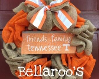 Tennessee Volunteers Burlap Wreath Go Vols SECFootball Go Big Orange
