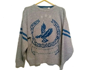 Old School Blue Grey Knitted Eagle Sweater - Preppy Cozy Crew Neck Pull Over Sweater