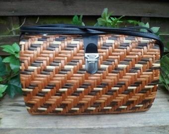 Bag Wicker, woman bag, vintage, bag shoulder strap, handle shoulder bag, hand bag, bag braided, rigid scholarship